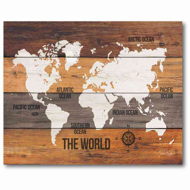 Wooden world map 16 x 20 canvas wall art sale web t716 distressed map canvas 16x20 gumiabroncs Images