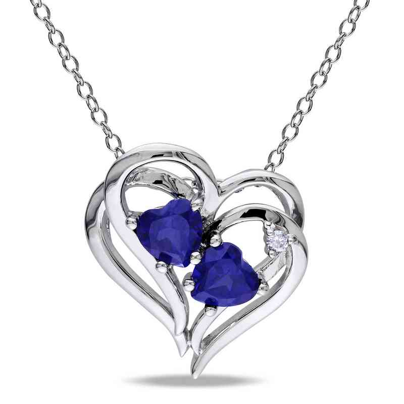 Created blue sapphire and diamond accent heart necklace in sterling bal000218 925 5mm cr blu sappdia accnt heart shp necklace aloadofball Image collections