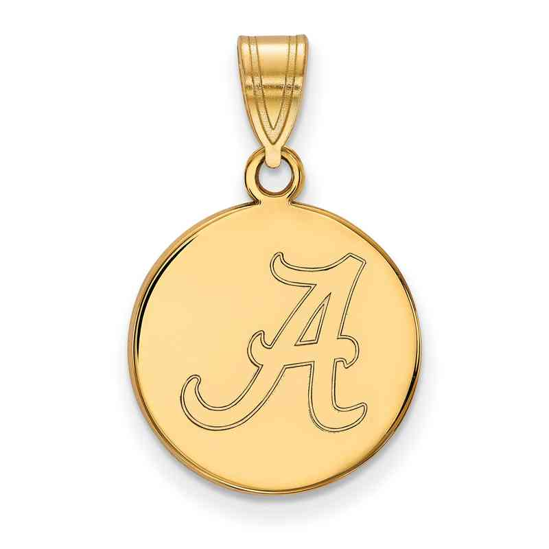 Alabama gold flash plated sterling silver disc pendant jewelry gp039ual 925 ygfp alabama med disc pend mozeypictures Choice Image