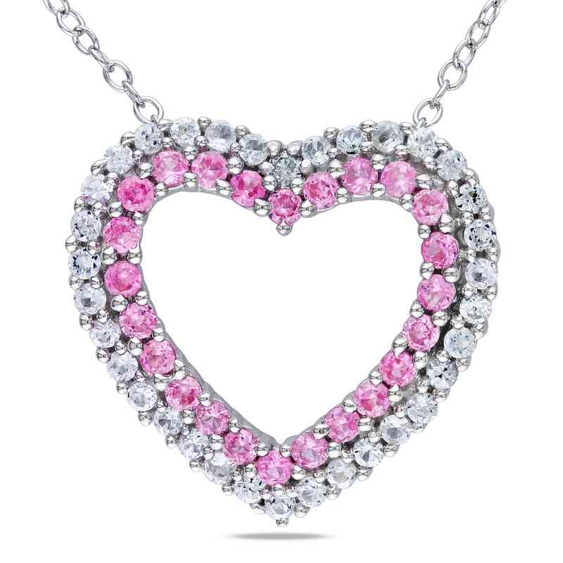 Created pink white sapphire diamond accent heart pendant necklace bal000199 clr 925 175mm cr pnkwh sapp w dia accnt heart pendt aloadofball Image collections