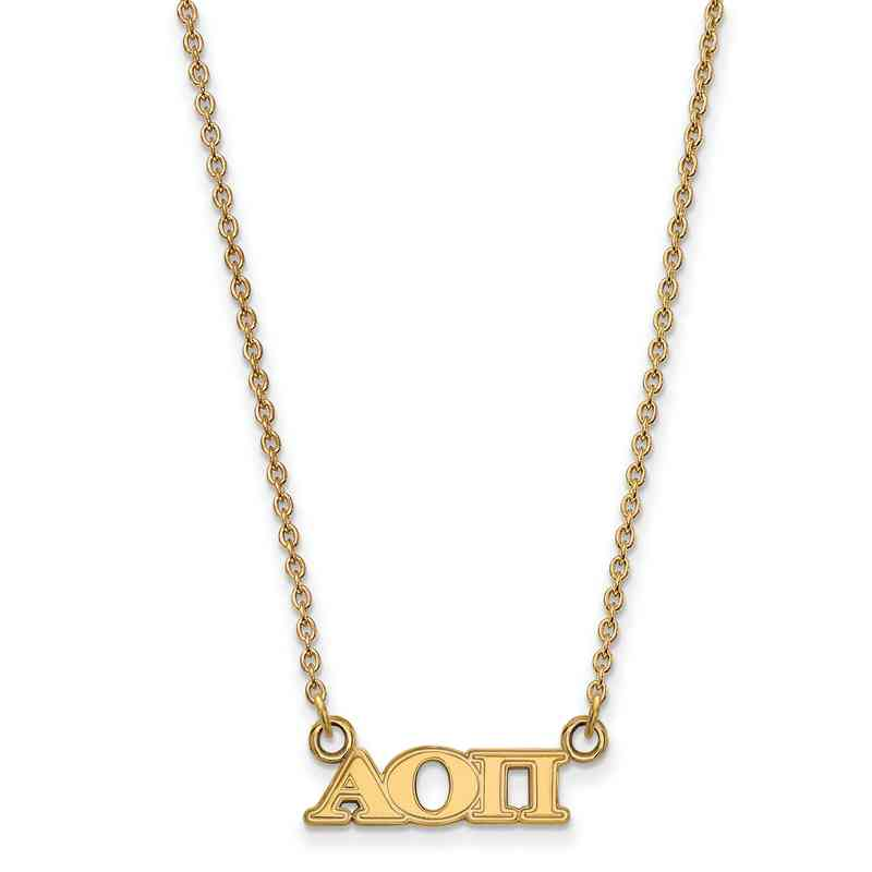Alpha Omicron Pi Gold Flash Plated Sterling Silver Necklace