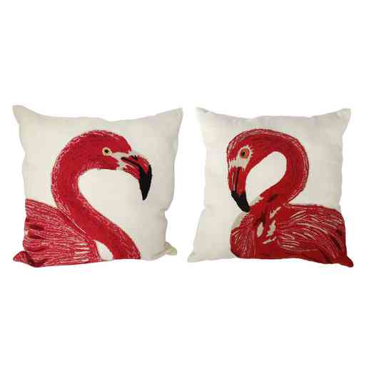 T38486: S/2 Flamingo Emroidered Pillows 24x24