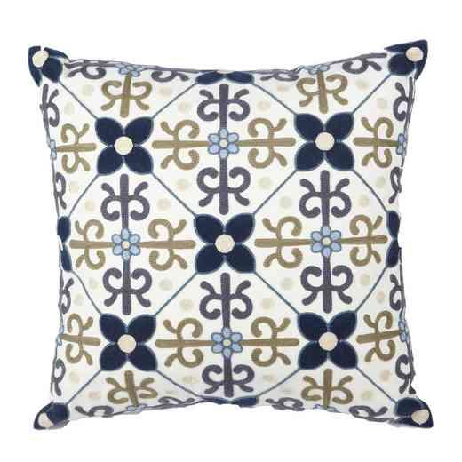 TAV38195: Blu/wht/neu floral emb pillow 18x18