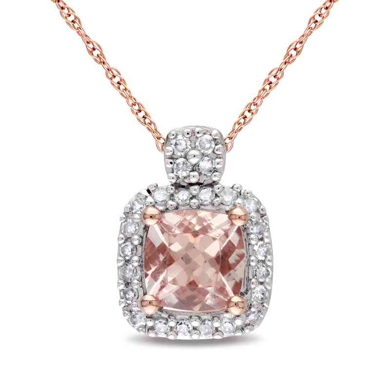 Morganite and 110 ct tw diamond halo pendant in 10k rose gold bal000233 10krg 5mm cushn morg110cttw dia halo pend aloadofball Gallery