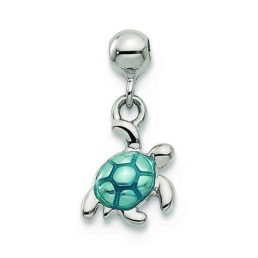 QMM159: 925 Mio Memento Enamel Dangle Turtle Charm