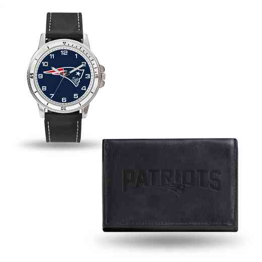 GC4832: Men's NFL Watch/Wallet Set - New England Patriots - Black