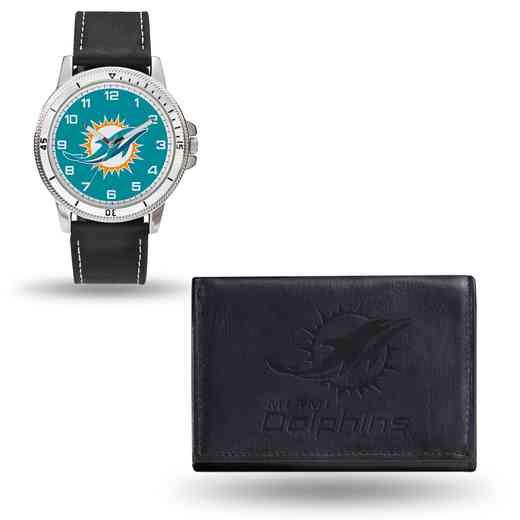 GC4830: Men's NFL Watch/Wallet Set - Miami Dolphins - Black