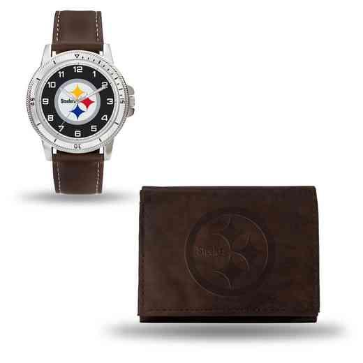 GC4870: Men's NFL Watch/Wallet Set - Pittsburgh Steelers - Brown