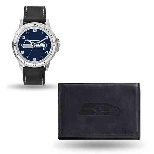 GC4840: Men's NFL Watch/Wallet Set - Seattle Seahawks - Black