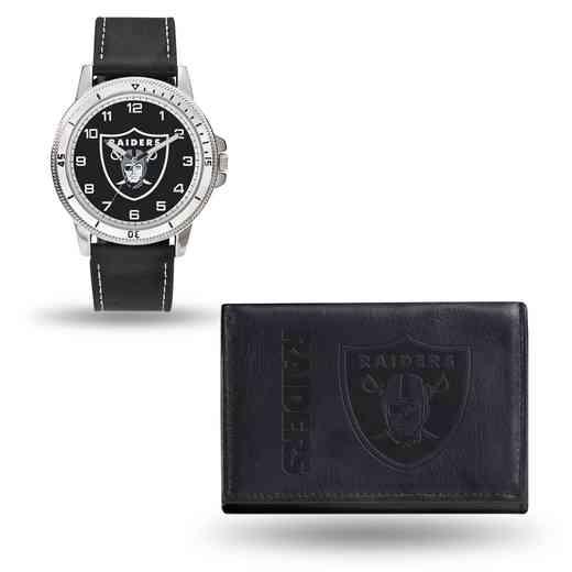 GC4836: Men's NFL Watch/Wallet Set - Oakland Raiders - Black