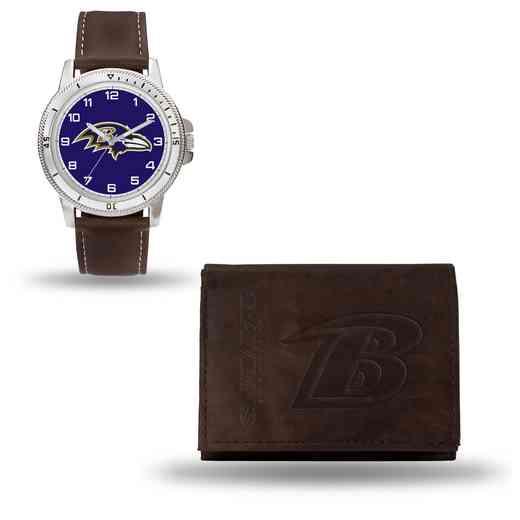 GC4848: Men's NFL Watch/Wallet Set - Baltimore Ravens - Brown