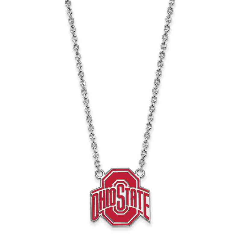 Ohio state sterling silver pendant silver pendant necklaces ss087osu 18 logoart ncaa enamel pendant ohio state white aloadofball Images