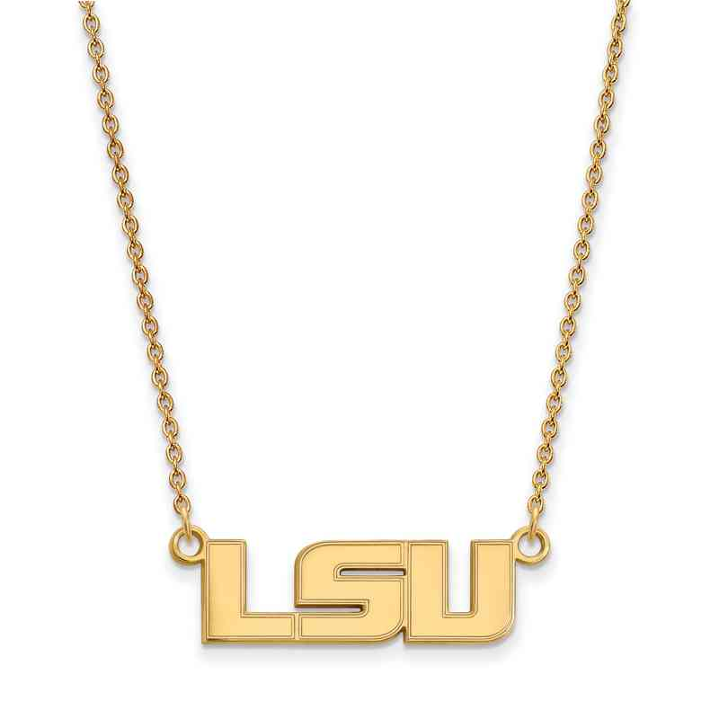 Louisiana state university sterling silver yellow gold flash plate gp009lsu 18 ygfp logoart louisiana state small neck yellow aloadofball Images