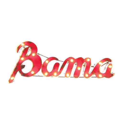 BAMAWDLGT: Alabama Bama Metal Decor w/Lights