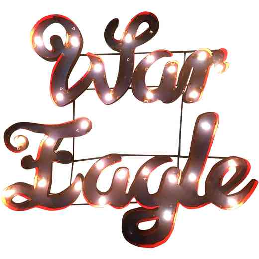WAREAGLEWDLGT: Auburn War Eagle Metal Decor w/Lights