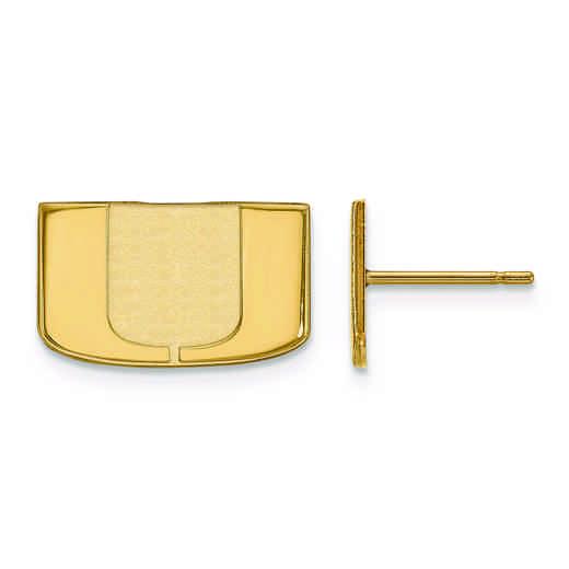 GP008UMF: 925 YGFP LogoArt University of Miami Florida Post Ears