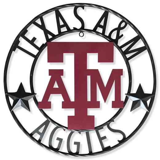 "A&MWRI18B: Texas A&M 18""  Round Metal Art"