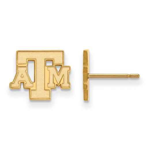 GP074TAM: 925 YGFP Texas A&M XS Post Earrings