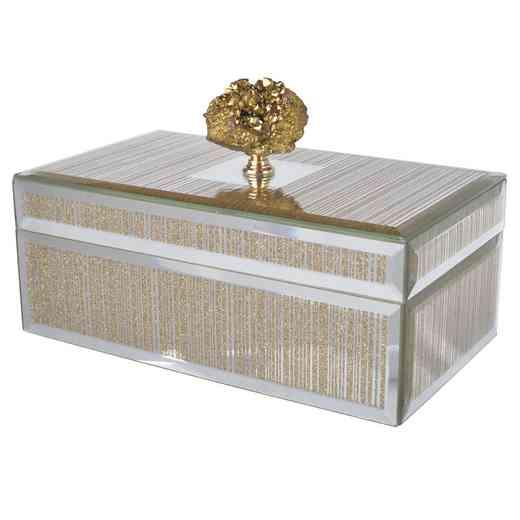 41221: Striped Box w/ gold stone  8.5x5